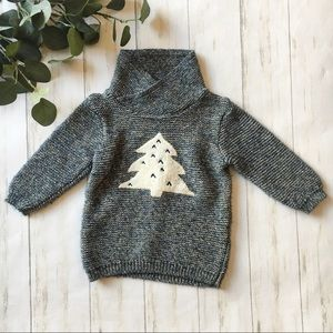 Zara Knitwear Blue Marled Christmas Tree Sweater
